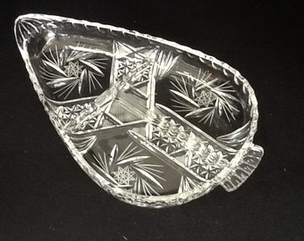 Crystal Divided Dish, Starburst Pattern, Teardrop Shape