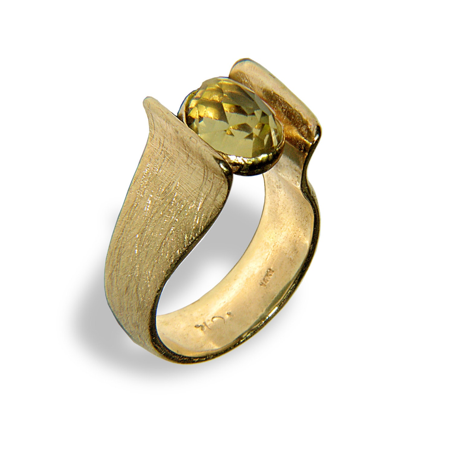 Harp gold ring lemon quartz stone wedding ring by ettyjewelry for Quartz wedding rings