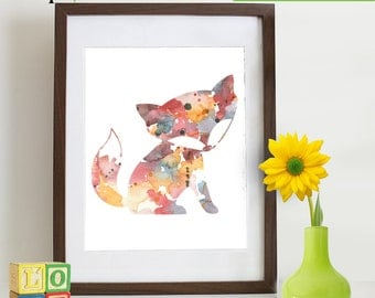 INSTANT DOWNLOAD-Watercolor Fox Print, Watercolor silhouettes, woodland animals,Cute fox , baby fox Nursery Print, Forest animals, ItemWC026