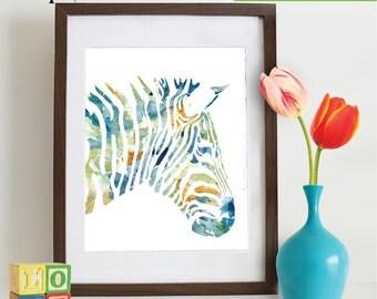 Watercolor Zebra Print, Watercolor silhouettes, Safari animals, Zebra , africa,  Nursery Print, animals, ItemWC034