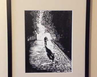 Original hand pulled linocut print. 'Moonshadow' Limited edition of 14.