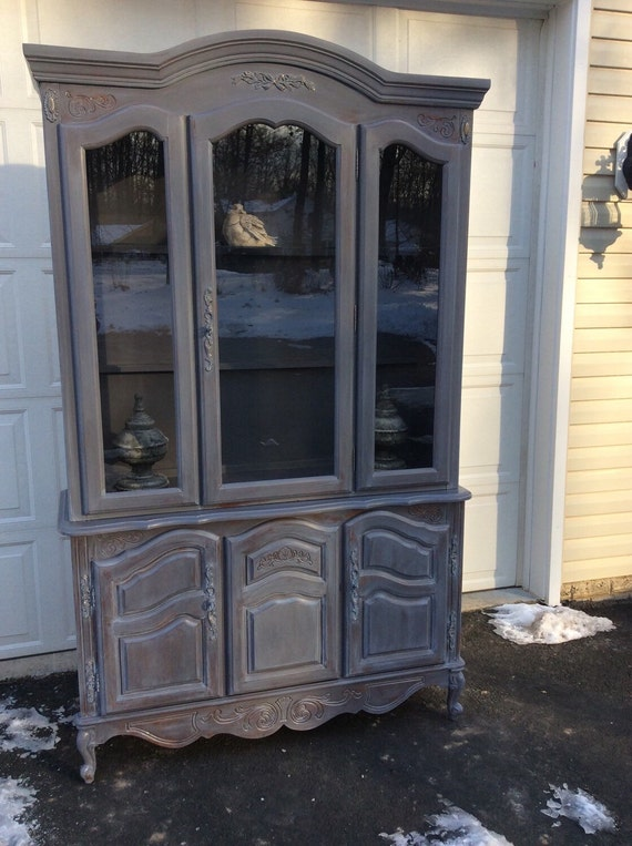 grey china cabinet provincial china cabinet shabby chic cabinet 16083
