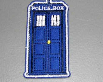 Tardis Police Box Patch - Iron On or Sew On - Dr. Who - Free Shipping