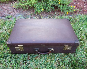 Vintage Hard Case Suitcase Luggage / Etched Vulcan Fibre Luggage / luggage / Storage Trunk / Photo Prop