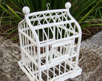 Ornate White Wooden Bird Cage / Wedding / Anniversary / Wedding Table Display / country Cottage