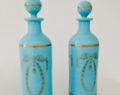 Blue Milk Glass Vanity Bottles - French- Portieux Vallerysthal - PV - Opaline - Gift-Turquoise-Robins Egg Blue -Wedding -Gold Wreath