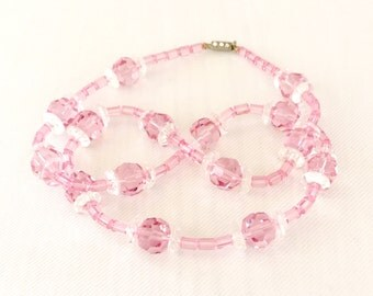 Vintage Pink Crystal and Roundel Necklace - Wedding, Bridal, Mother of the Bride, Bridesmaid