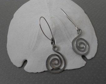 Silver Spiral Earrings - Simple Largel Dangle Spirals of Sterling Silver