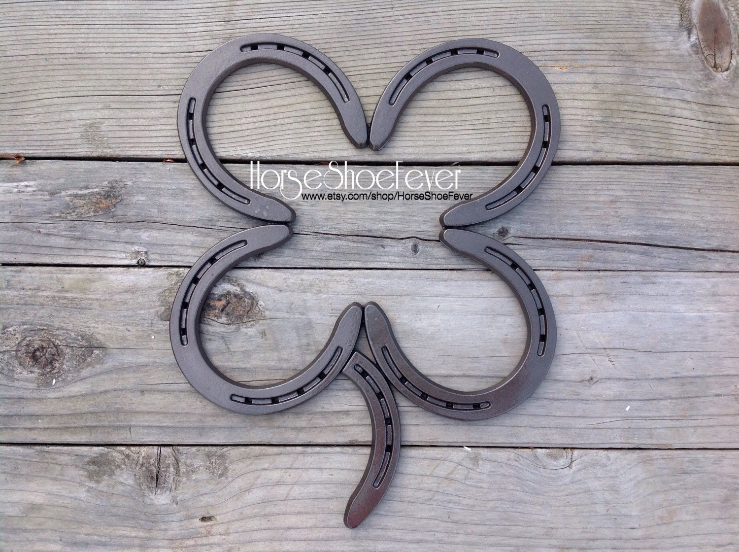 4 leaf clover welded horseshoe art western home decor
