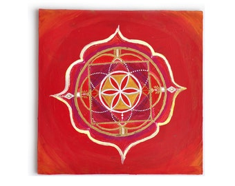 Root Chakra Painting Print : Giclee or Archival | Original | Flower of Life | Sacred Geometry |