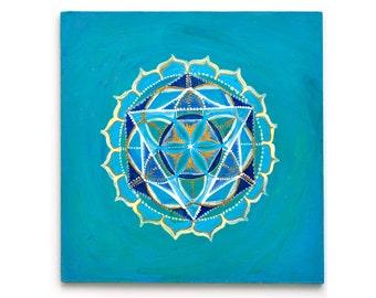 Throat Chakra Print : Giclee or Archival | Original | Flower of Life | Sacred Geometry |