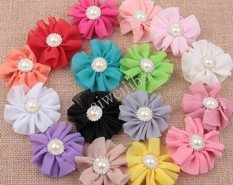 6cm Chiffon Flowers With Pearls And Rhinestones, Fabric Flowers, Perfect For Baby Headbands, DIY Hair Accessories.