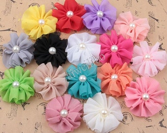 10 pcs 6 cm Chiffon Flower With Pearl Center, Folded Flower, Fabric Flower, Headband Flower, Diy Hair Accessories