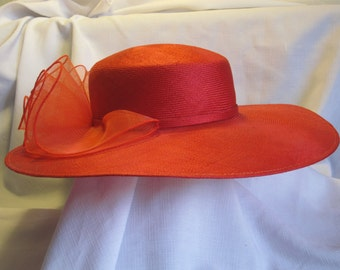 Vintage Red Straw Hat With Matching Red