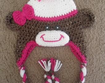 Sock Monkey Hat.  Sizes Newborn-12 Months.