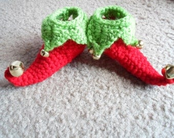 Adorable Little Elf Booties/Slippers/Shoes.  Available in Sizes: Newborn, 0-3 Mths, 3-6 Mths, 6-9 Mths, & 9-12 Mths.