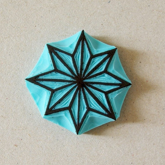Geometric star rubber stamp hand carved christmas
