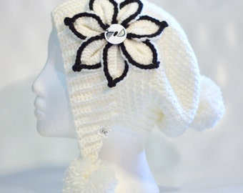 Ready to ship crochet slouchy hat with ear warmers and pompoms