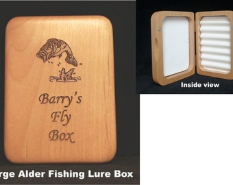 Wood Fishing Lure Box- Made in USA!!  Personalized fishing gift. Outdoor, groomsmen gift, baby announcement, engraved fly fishing box.