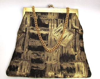 1950's Koret Black and Gold Lame Evening Pouch with Gold Chain