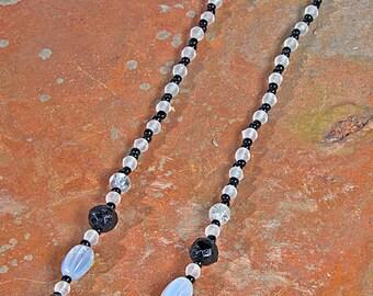 """Vintage Czech. glass beads necklace black & opalescent 16"""""""