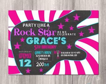 Rock Star Birthday Invitation, Girl Rock Star Invitation, Printable Rock Star Invitation, Girl Rockstar Invitation, Rocker, Rock n Roll