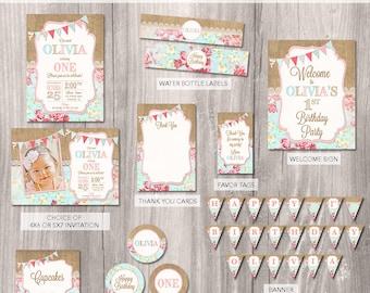 Shabby Chic Party Package, Shabby Chic Birthday Invitation, Shabby Chic Party, Girls First Birthday Invitation, Printable Party Package