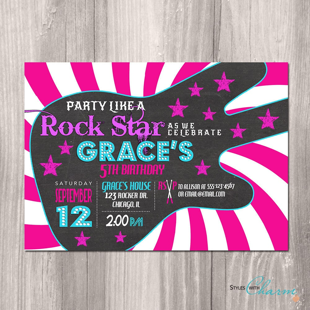 Rockstar invitation – Rock and Roll Party Invitations