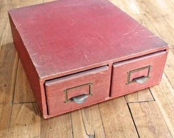 Vintage antique Card index cabinet  / Vintage 2 Drawer Cabinet - Card Storage Box