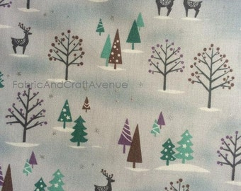Half yard- D's Selection Xmas DX12504S - Produced by Fumika Oishi-  Winterland / Xmas tree /  Reindeer / Snow-  Made in Japan