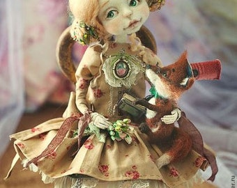 Princess Elya and her friend fox ) ART DOLL (needle felted doll)collectible art doll ooakMade to order 5-6 weeks.aprx35cm tall.