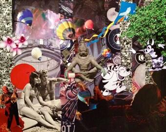 Handmade Magazine Collage Art / Original 11x14 Signed & Framed / Psychedelic Art