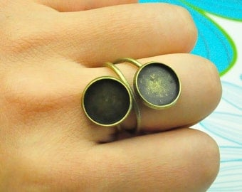Ring Blanks--5pcs 12mm Antique Bronze Cameo Base Setting Ring Blank Double Ring Base