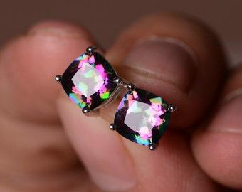 Mystic Topaz Earrings Sterling Silver Gemstone Rainbow Earring Stud