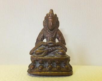 Buddha Dhyana Mudra Miniature Bronze/Copper Figurine, Vintage