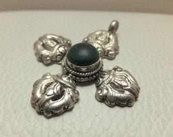 Buddha Silver Dorja Pendant with Green Stone, Vintage