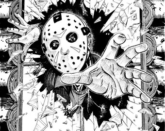 Jason Voorhees Friday the 13th coming at you! Scary Evil Slasher Movie Horror Art 8x10 inch print on cardstock (unframed) by Colin Richards