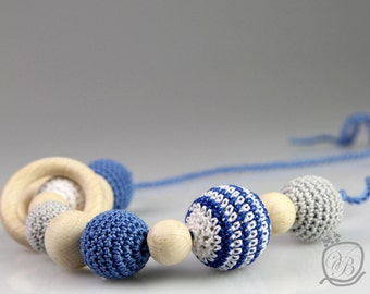 SALE! Nursing Necklace Blue Crochet Baby teething toy Eco friendly Teething Necklace wooden rings Breastfeeding jewelry Shower gift