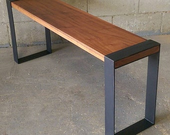 Walnut & Flat Black Steel Bench