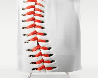 Baseball Bathroom Shower Curtain Sports Red White Decor