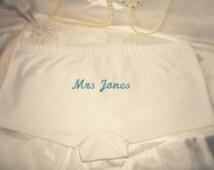 Personalised Bridal Underwear. Bespoke Wedding Knickers. Embroidered White Cotton Panties. Wedding Lingerie Honeymoon Gift