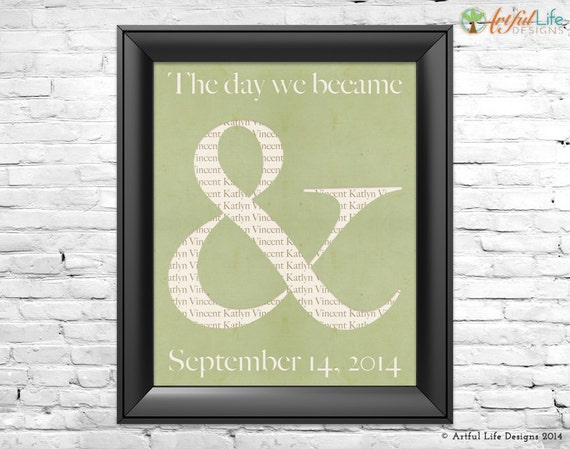 Personalized Gift for Couples Wedding Love Wall Art, Ampersand Art ...