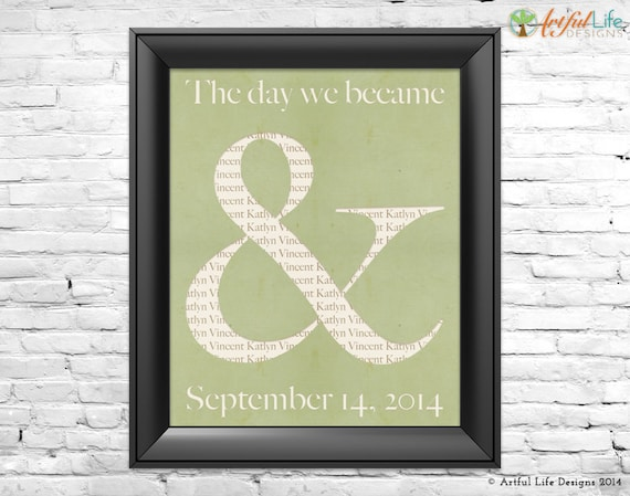 Custom Wedding Gift For Husband : Personalized Gift for Couples Wedding Love Wall Art, Ampersand Art ...