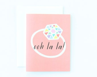 Engagement Card, Pretty Engagement Congratulations Card, Happy Engagement Card, Diamond Ring Card