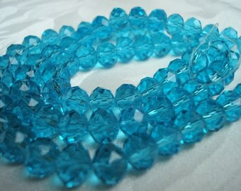 10mm Caribbean Blue Faceted Big Crystal Rondelles. 32pcs. 10x8mm Translucent Deep Aqua Blue, Capri Blue Rondelles.  ~USPS Ship Rates /OR