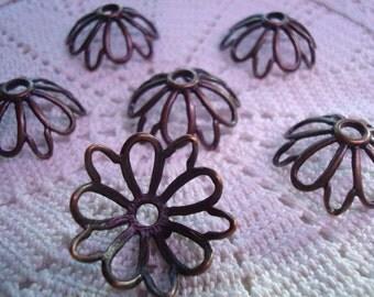 12 Giant Antiqued Copper Plt Flower Beadcaps 26x10mm Hole 3mm. Open Petals