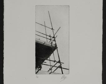 Scaffolding Print, A black and white print of scaffolding.