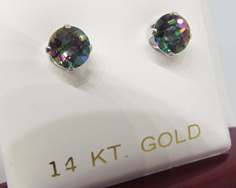 14 K gold and mystic topaz earrings.