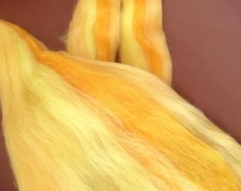 50gr- 1.76 oz Multicolour Merino Wool Roving/Top 21 Micron (Yellow)