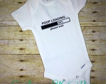 Poop Loading Handmade Baby Onesie Bodysuit Creeper Sleeper Romper